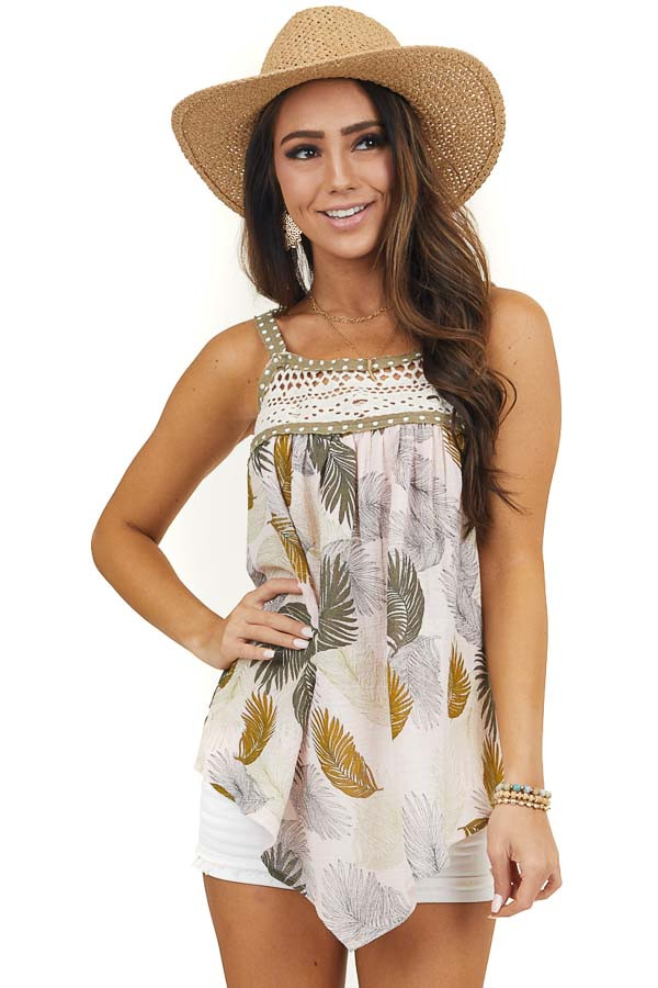 Blush Tropical Print Tank Top with Crochet Lace Detail