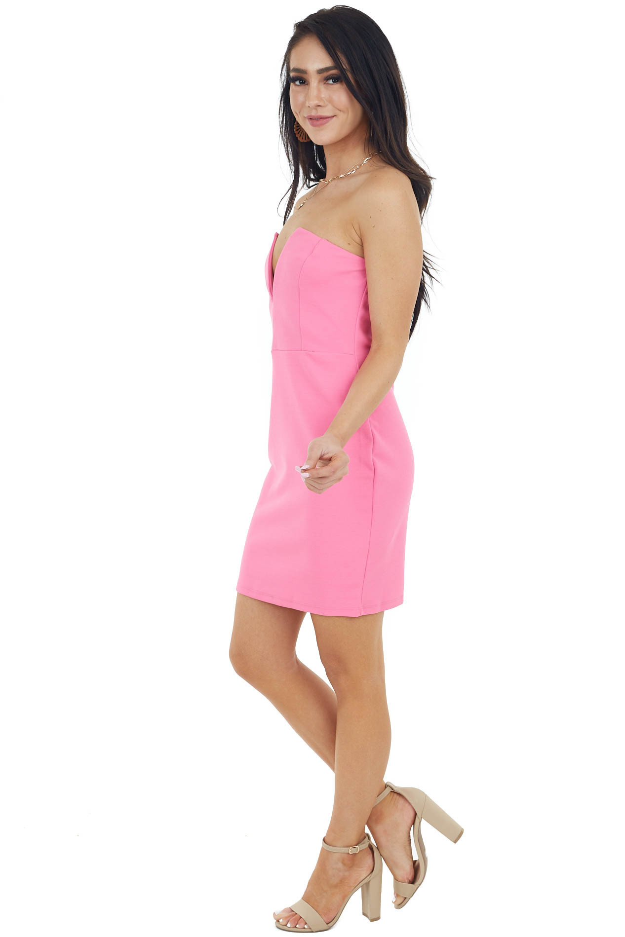Pink Strapless Bodycon Mini Dress with Deep V Cutout Detail