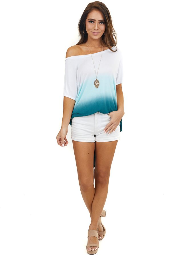 White and Pine Green Ombre Striped Short Sleeve Top