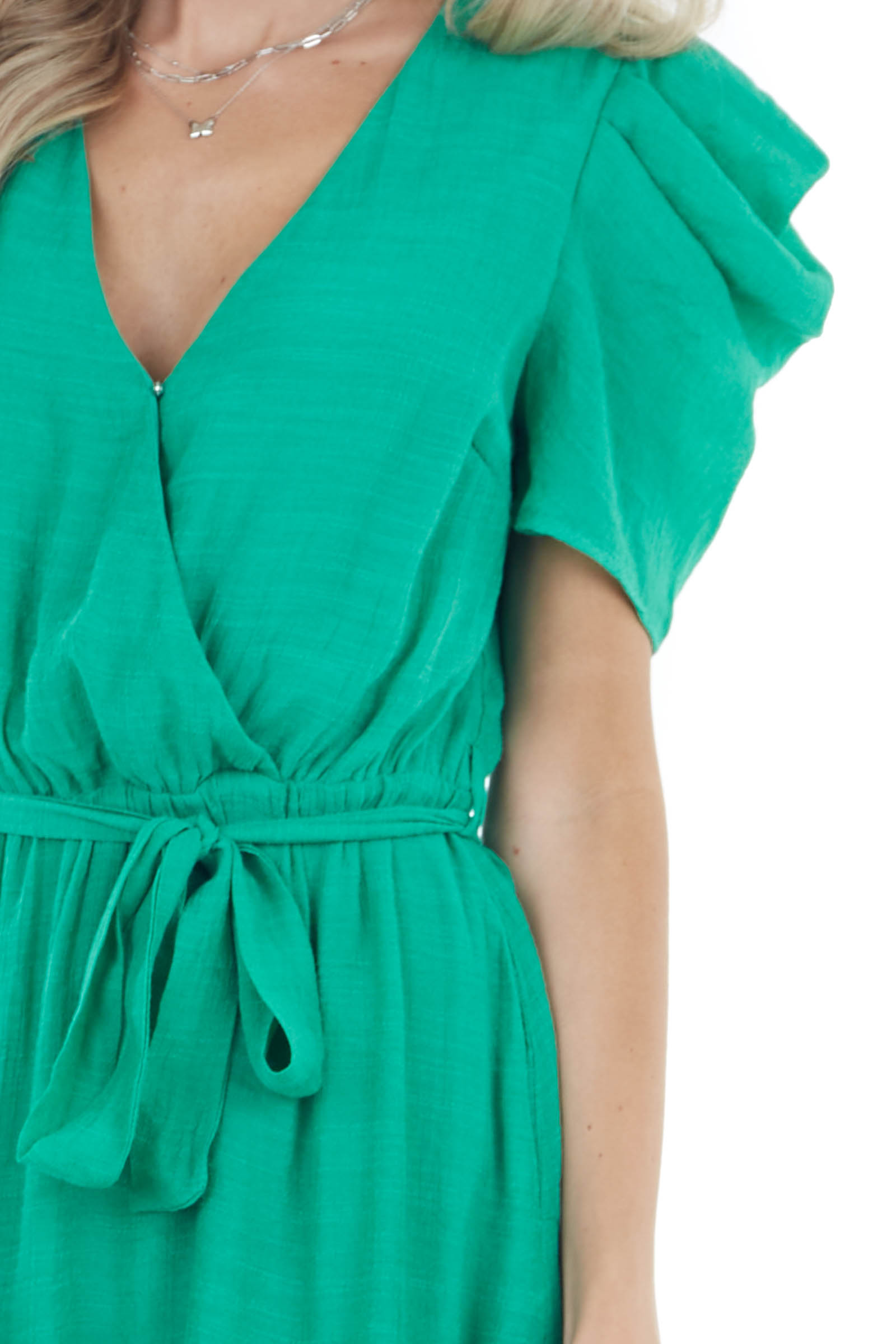 Kelly Green Short Dress with Front Tie and Ruffle Detail