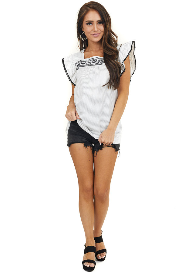 Off White and Black Striped Top with Embroidery Details