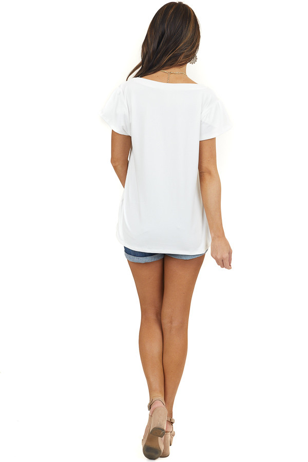 Ivory Super Soft Knit Top with Short Tulip Sleeves
