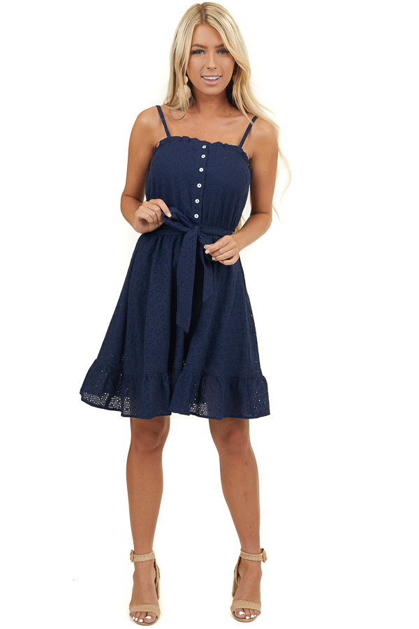 Navy Eyelet Lace Short Sleeve Dress with Front Button Detail