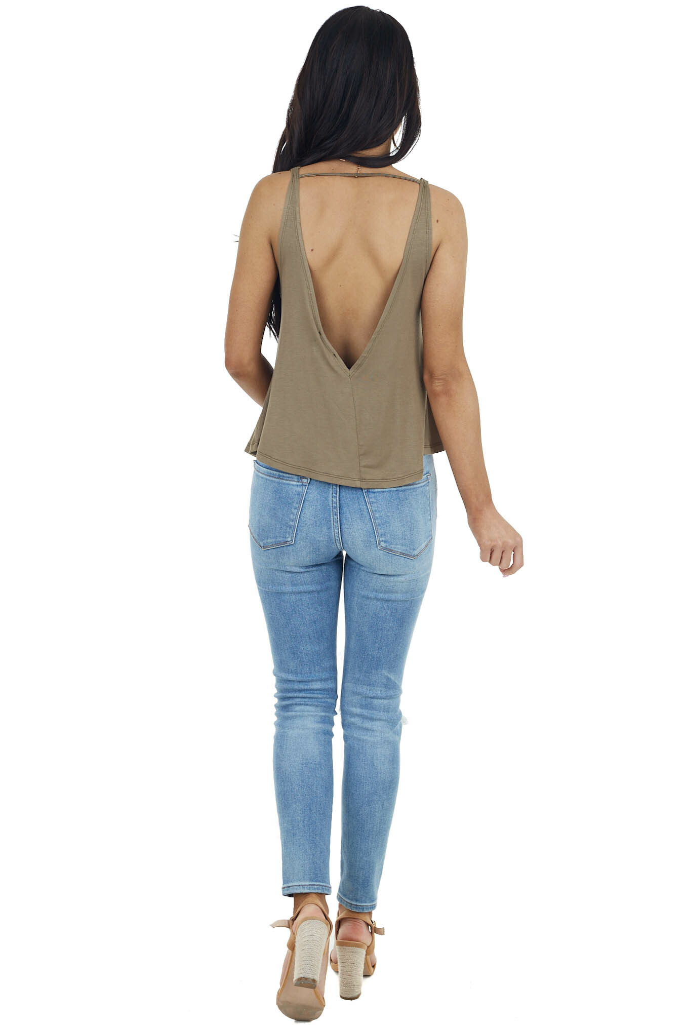 Olive Knit Tank Top with Low Cut Back and Button Details