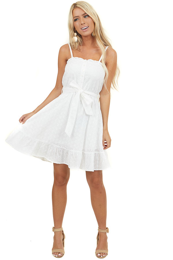 Off White Eyelet Lace Sleeveless Dress with Front Buttons