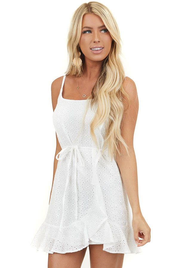 Off White Eyelet Lace Mini Faux Wrap Dress with Front Tie