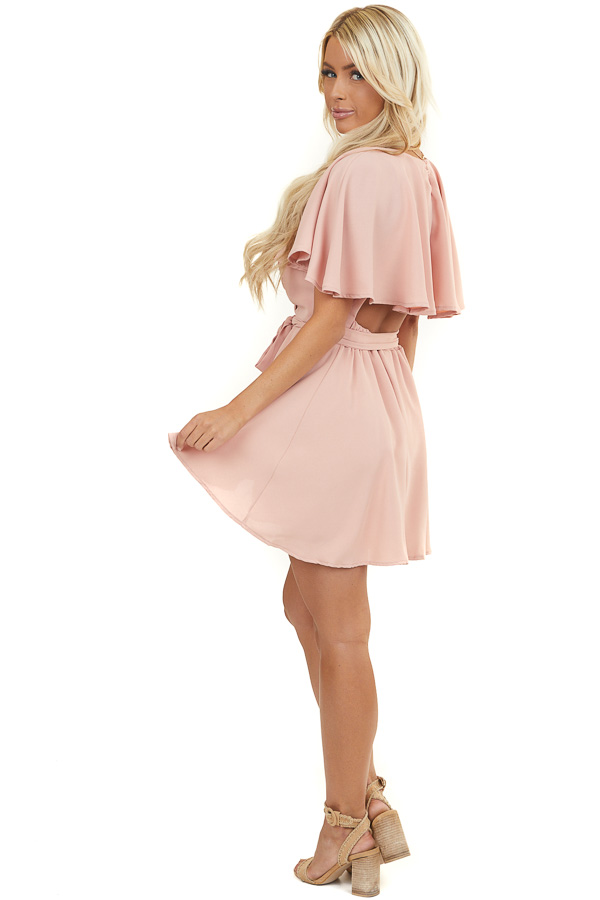 Blush Surplice Short Romper with Back Overlay and Waist Tie
