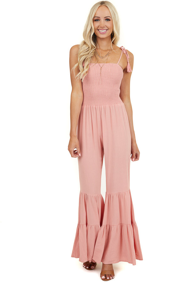 Coral Jumpsuit with Tassel Tie Straps and Flared Legs