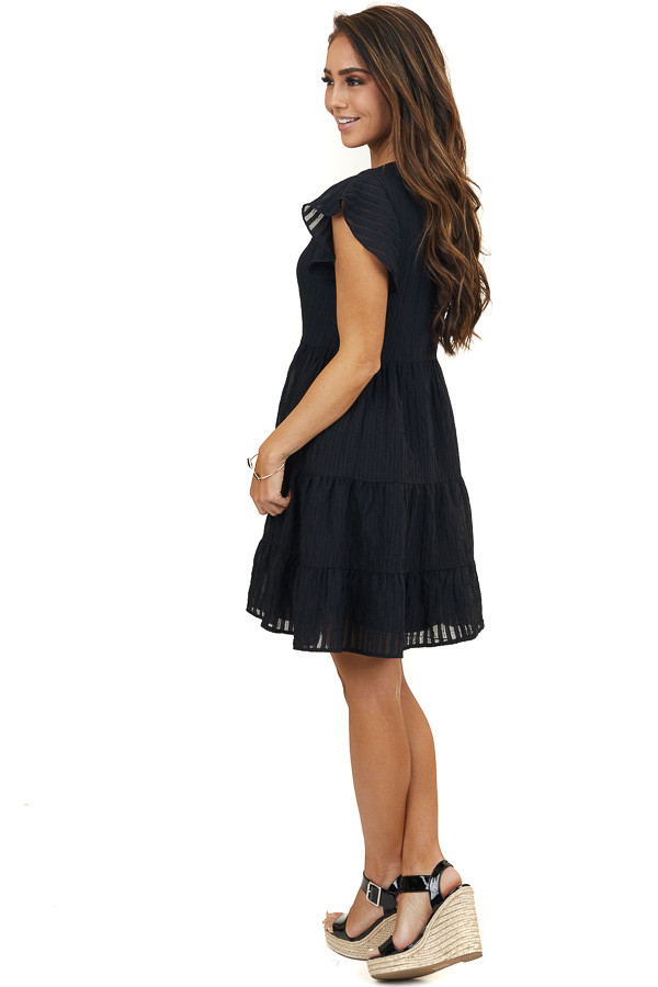 Black Short Sleeve Tiered Dress with Textured Stripes