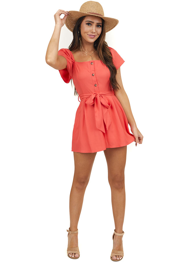 Dark Coral Short Romper with Front Tie and Button Details