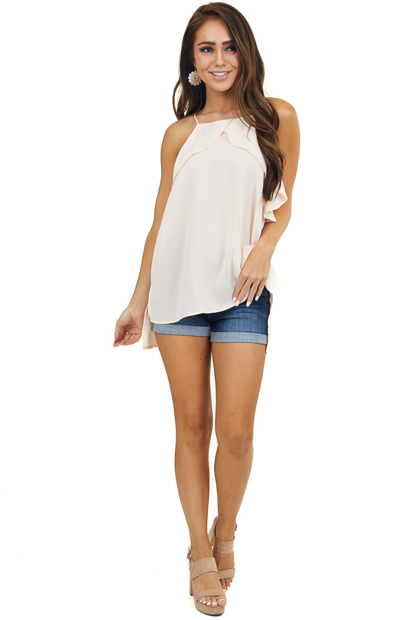 Apricot Halter Neck Tank Top with Ruffle Details
