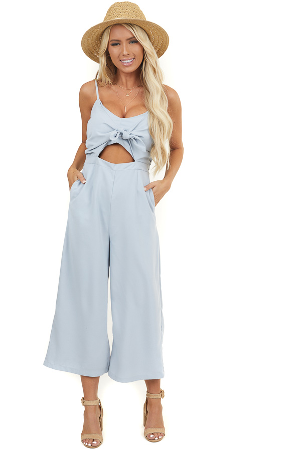 Dusty Blue Sleeveless Jumpsuit with Peek A Boo Chest and Tie