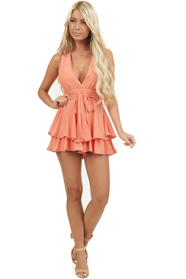 Salmon V Neck Romper with Layered Overlay and Waist Tie