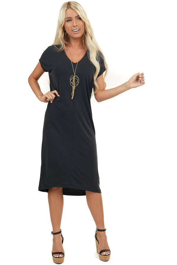 Black Short Sleeve Tee Shirt Midi Dress with V Neckline