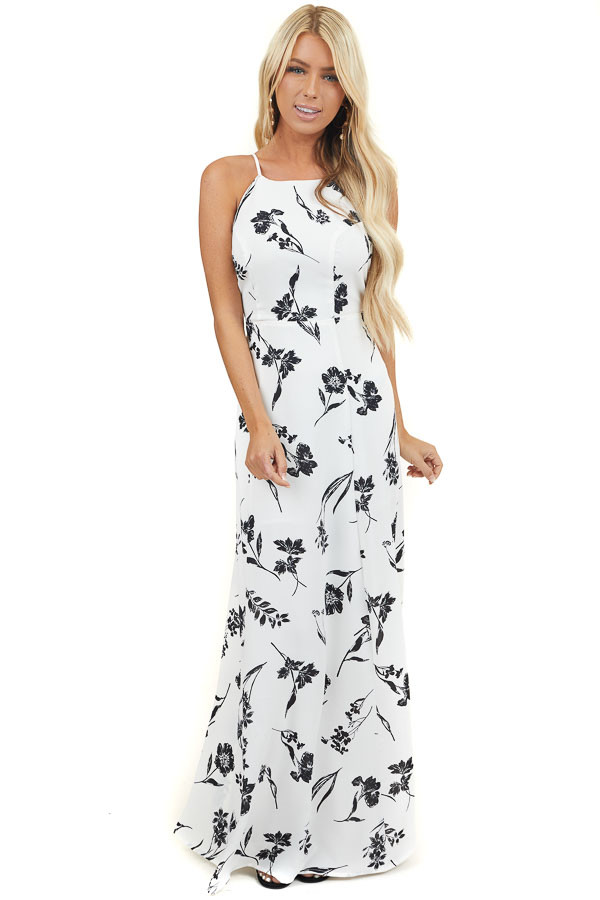 Off White and Black Floral High Neck Sleeveless Maxi Dress