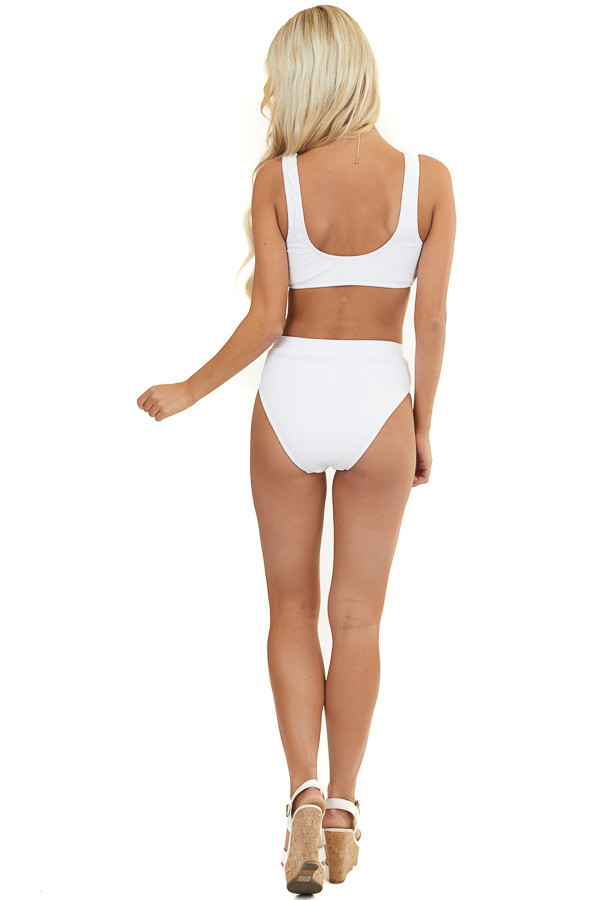 White Textured Bikini Swimsuit Set with High Waisted Bottoms