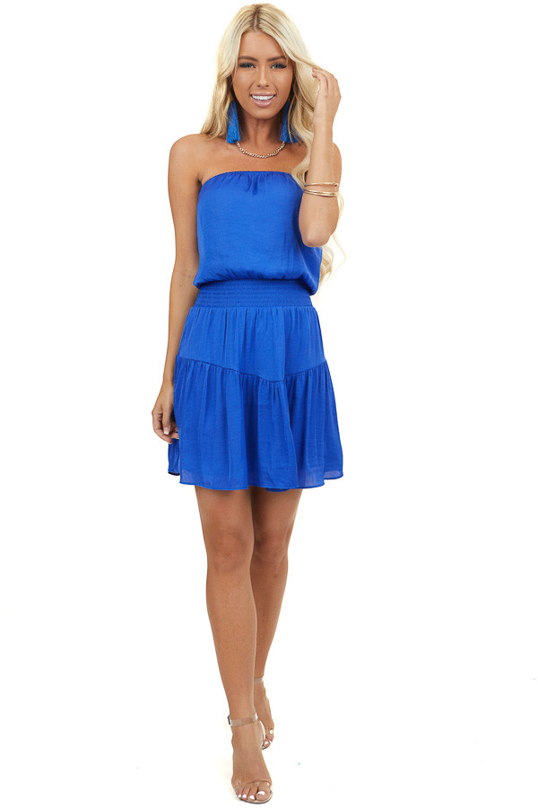 Royal Blue Silky Strapless Mini Dress with Tiered Detail