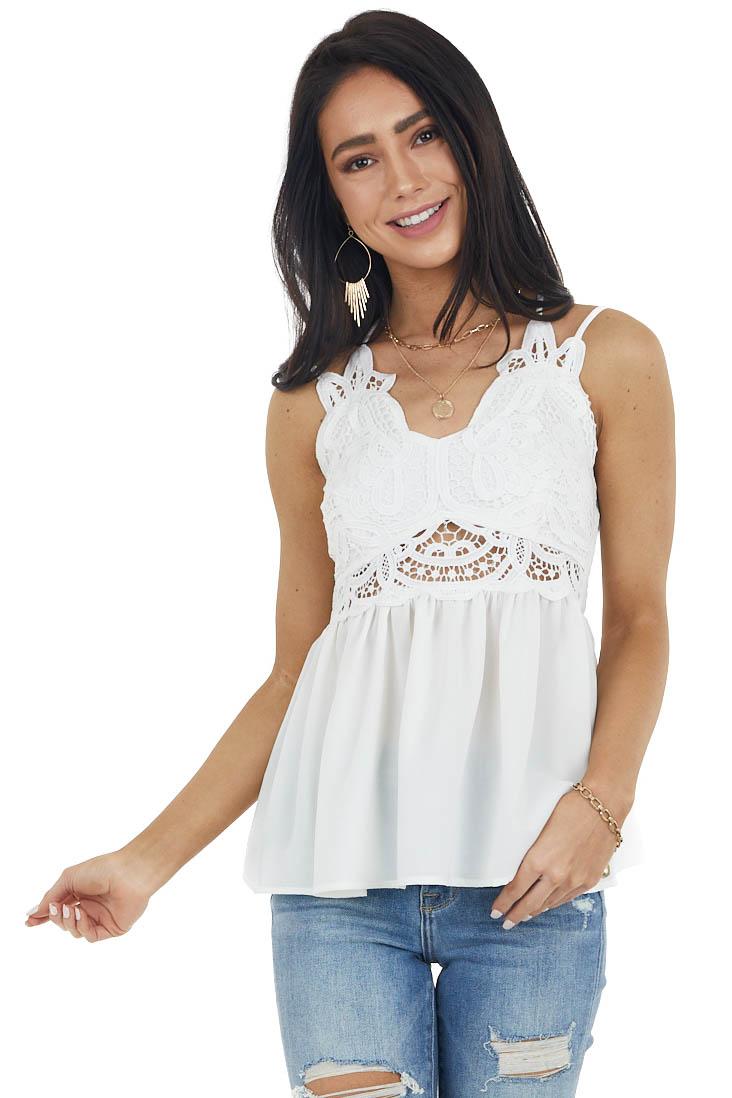 White Babydoll Top with Lace Bust and Peekaboo Waist Detail