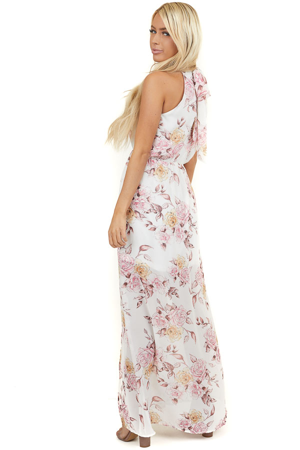 Ivory Floral Print Halter Maxi Dress with Tie Back Detail