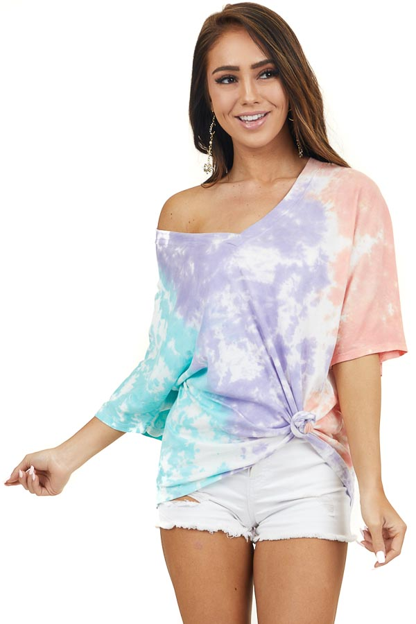 Lilac Teal and Coral Tie Dye Short Sleeve V Neck Dolman Top