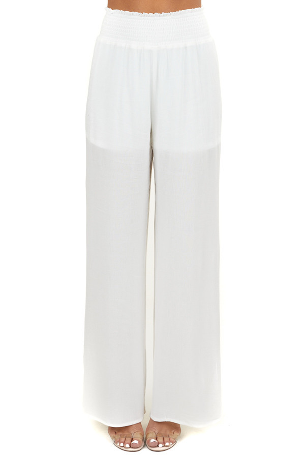 Off White Wide Leg Pants with Smocked Waistband