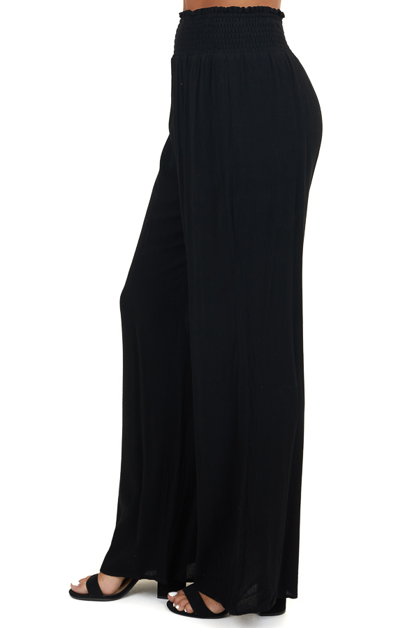 Black Wide Leg Pants with Smocked Waistband