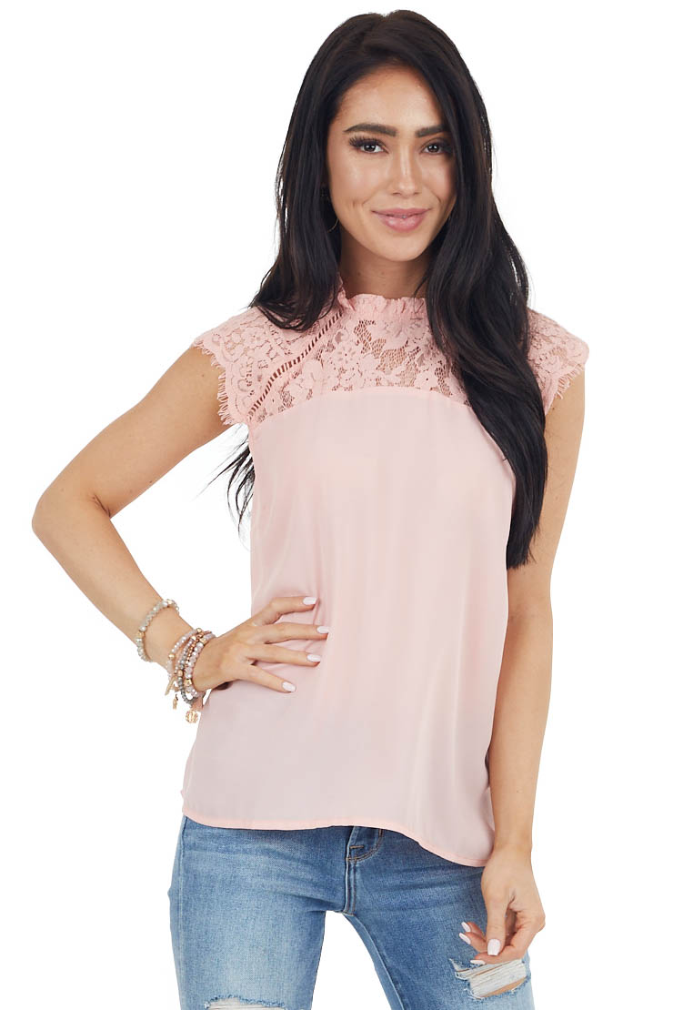 Peach Sleeveless Top with Lace Mock Neckline Detail