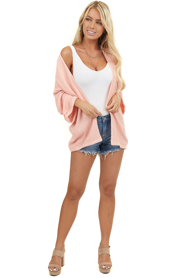 Salmon Knit Open Front Textured Sweater Cardigan