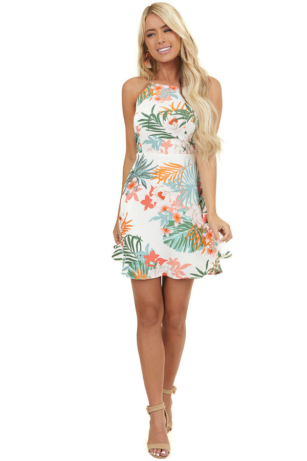 Cream Floral High Neck Short Dress with Criss Cross Straps