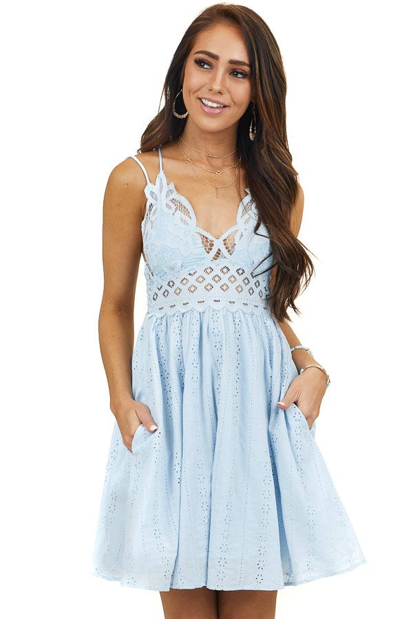 Baby Blue Lace Top Dress with Peekaboo Details and Pockets