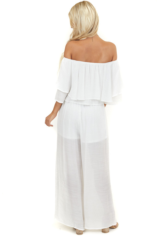 Off White Off Shoulder Top and Wide Leg Pants Two Piece Set