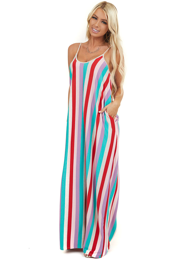 Red Multicolor Vertical Striped Maxi Dress with Pockets