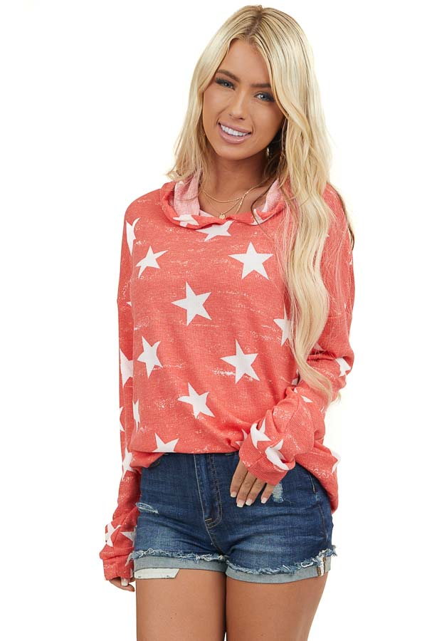 Faded Tomato Red Thermal Hoodie with White Star Print
