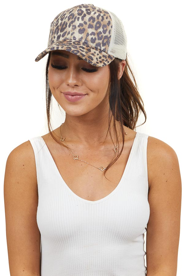 Beige Leopard Print Faux Suede Baseball Cap with Mesh Back