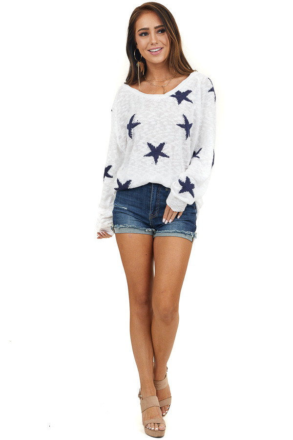 White and Navy Star Print Long Sleeve Lightweight Sweater