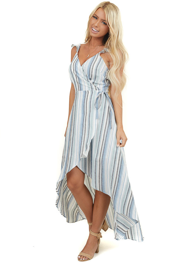 Multicolor Striped Wrap Dress with High Low Hemline