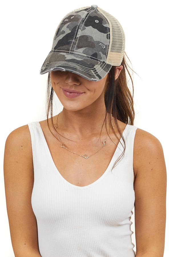 Mocha Camo Print Distressed Baseball Cap with Mesh Back