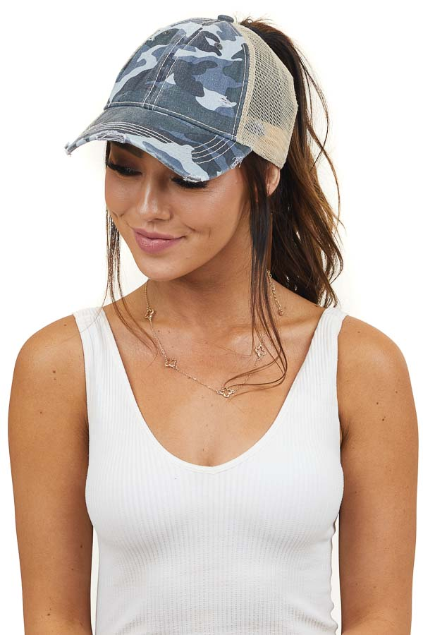 Baby Blue Camo Print Distressed Baseball Cap with Mesh Back