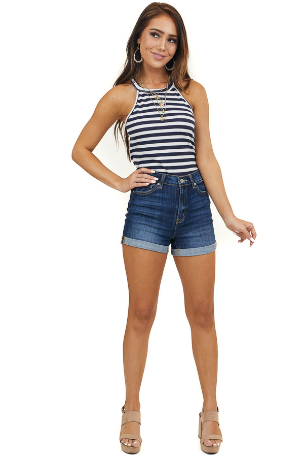 Navy and Off White Striped Halter Neck Knit Tank Top