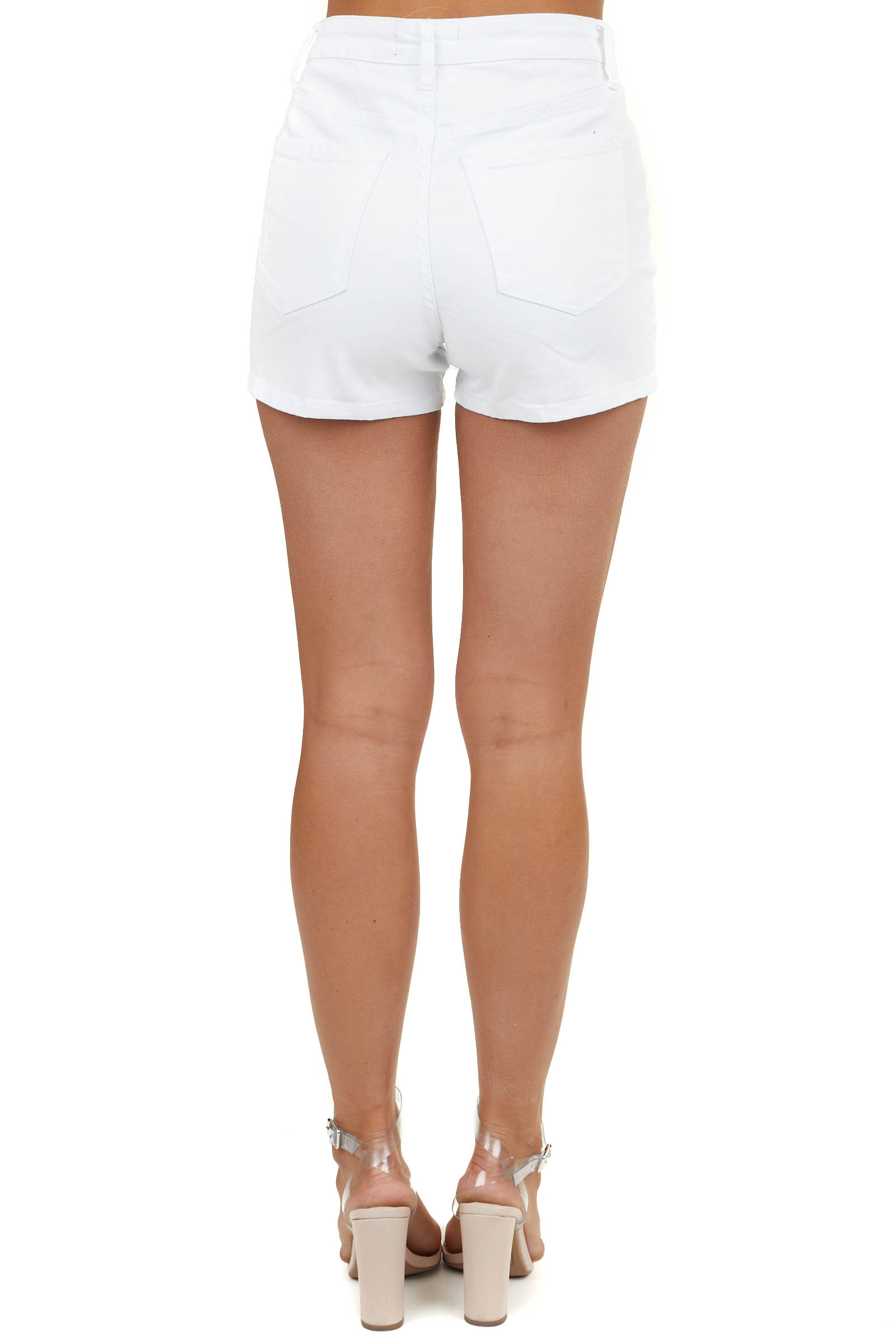 White Denim High Rise Shorts with Button Up Front