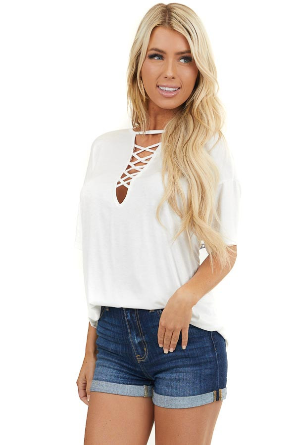 Off White Short Sleeve Top with Criss Cross Cutout Detail
