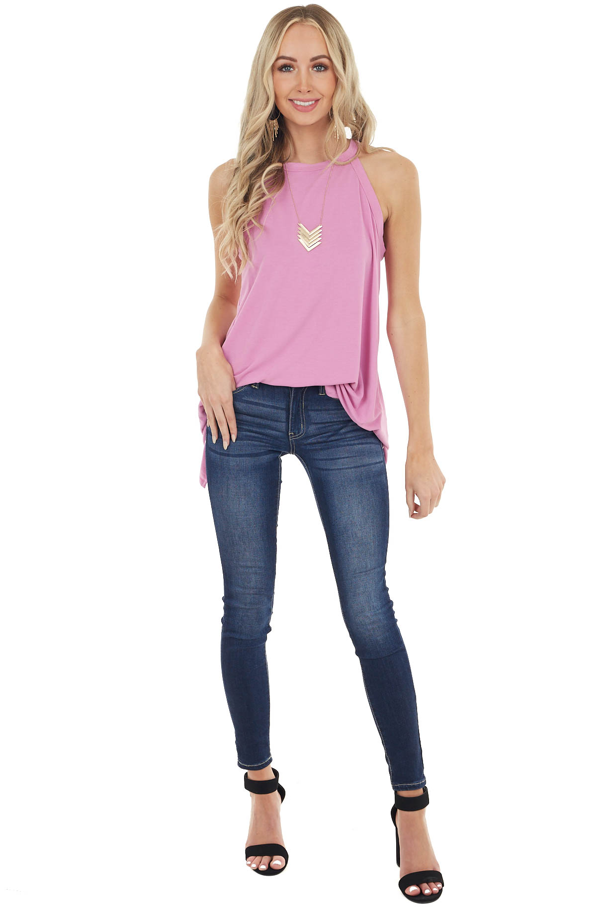 Light Magenta Sleeveless High Neck Top with Open Slit Back