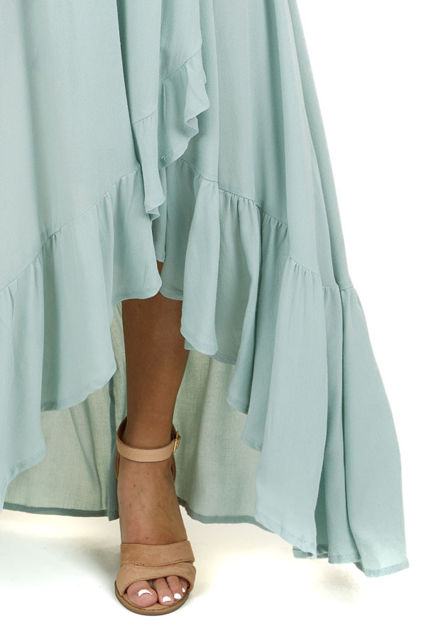 Mint Sleeveless High Low Maxi Dress with Bust Overlay
