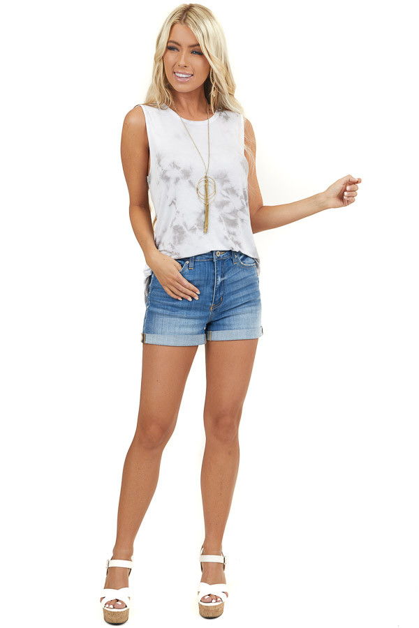 Heather Grey and White Tie Dye Super Soft Knit Tank Top