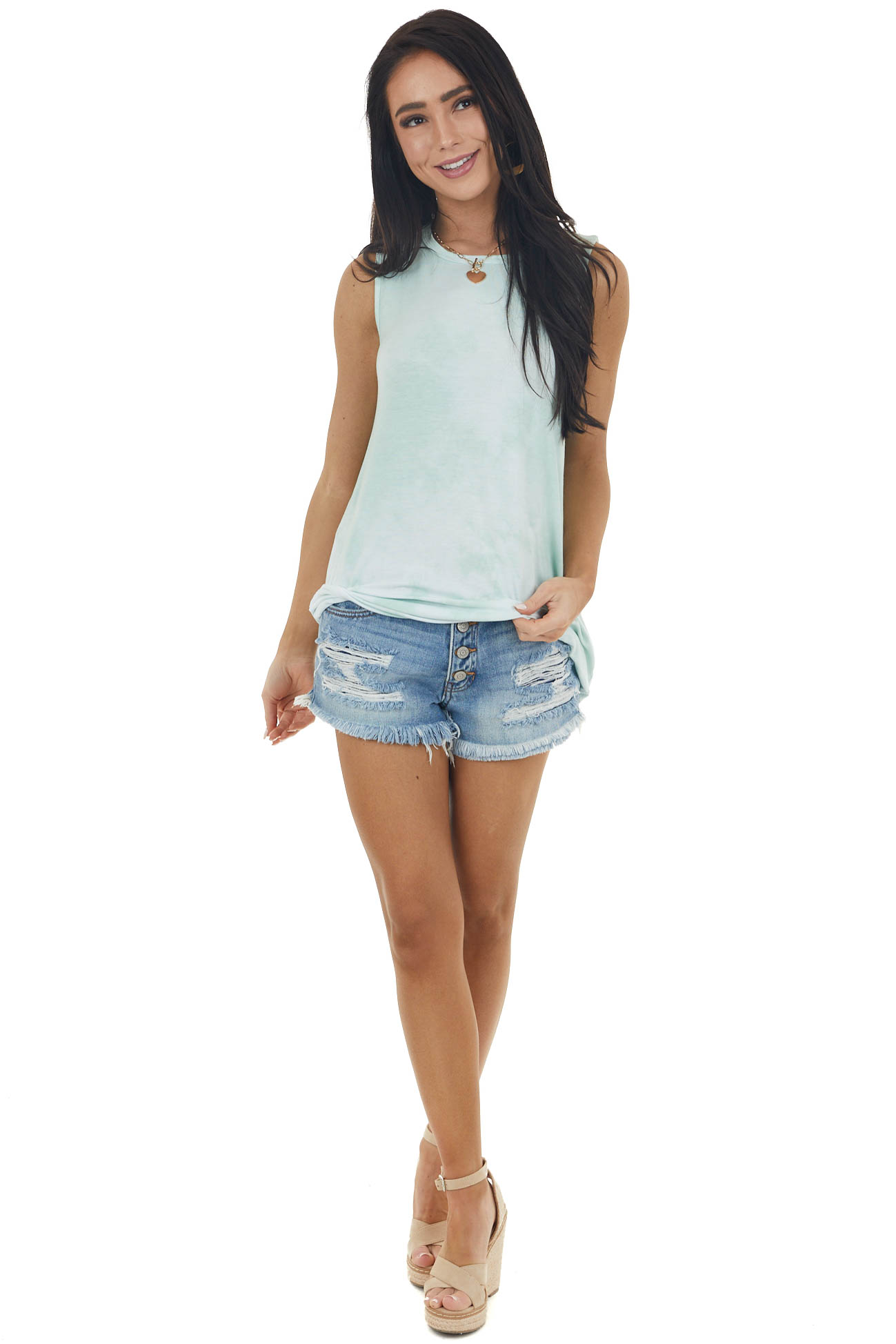 Light Mint and White Tie Dye Super Soft Knit Tank Top