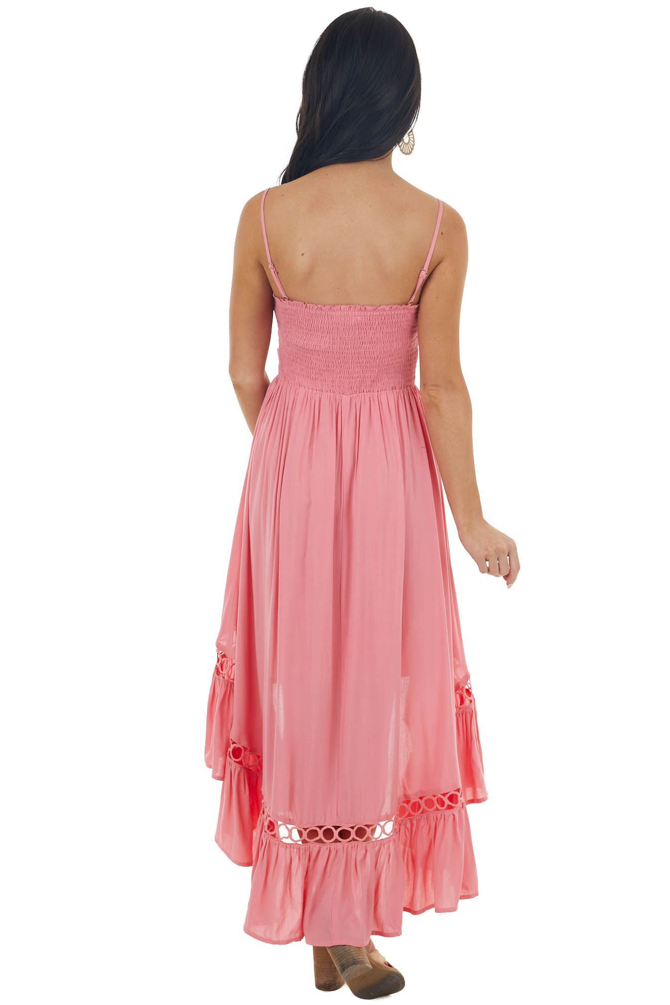 Coral High Low Midi Dress with Bust Tie and Peekaboo Details