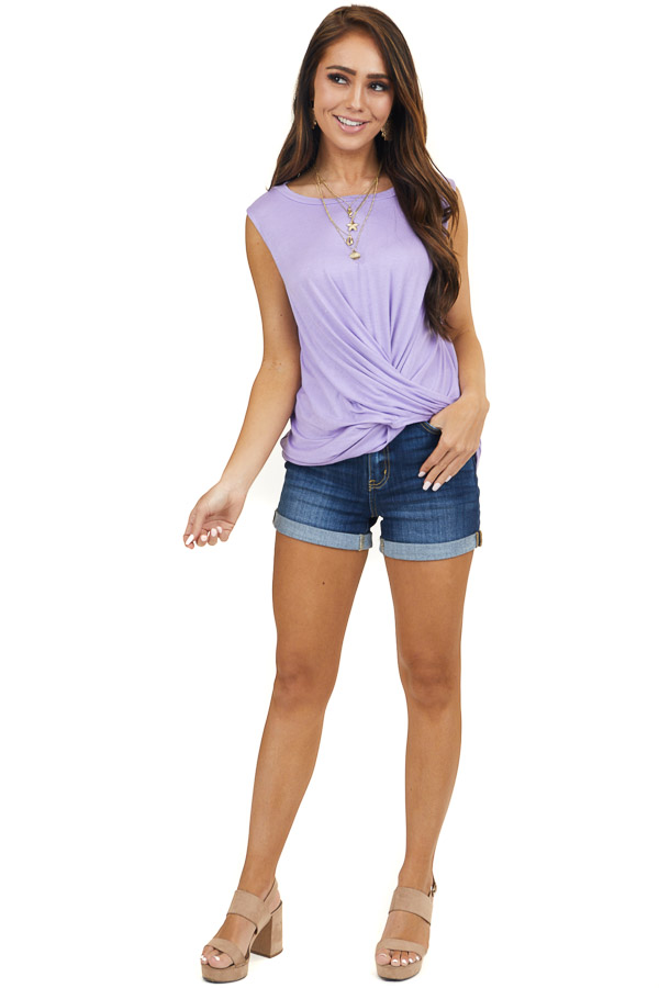 Lavender Sleeveless Knit Top with Twisted Front