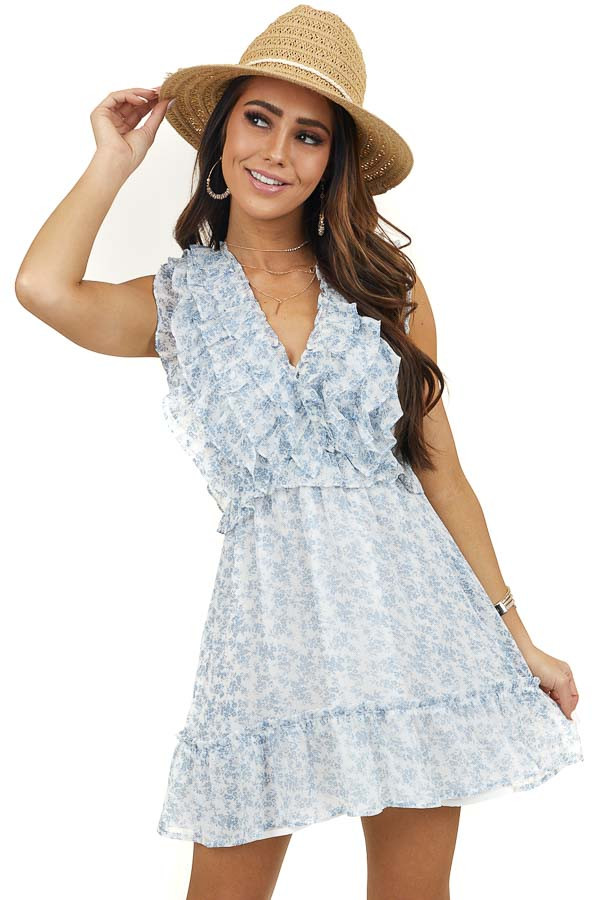 Off White and Powder Blue Floral Mini Dress with Ruffles