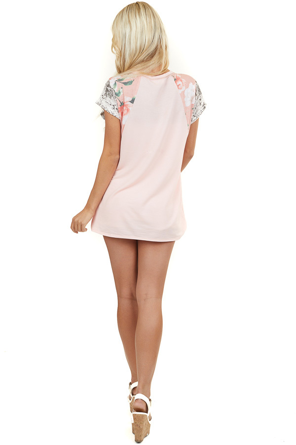 Blush Short Sleeve Top with Floral and Snakeskin Contrasts