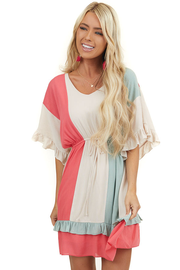 Beige Multicolor Striped Dress with Short Ruffle Sleeves